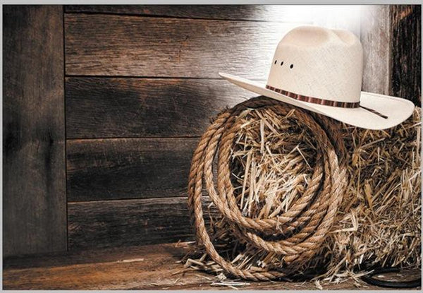 Cowboy Hat Barnyard Old Country Barn Wood Backgrounds Vinyl Cloth High Quality Computer Printed Party Photo