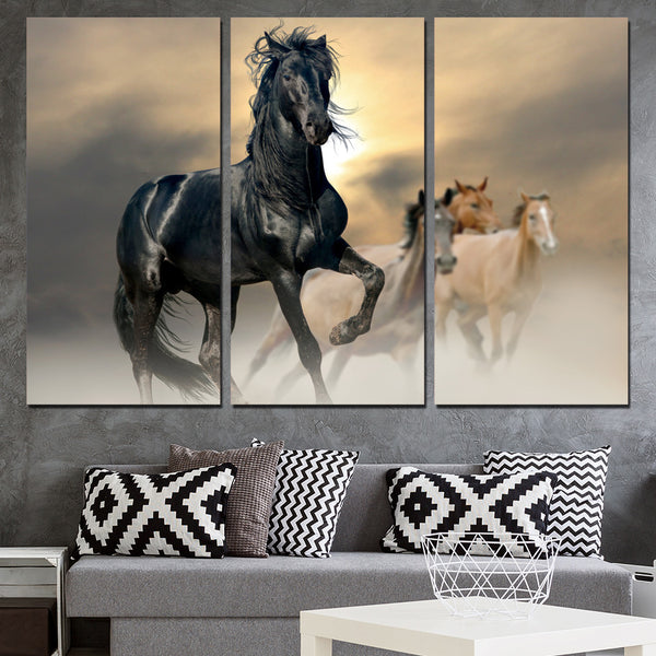 Canvas pictures wall art home decor 3 pieces black horse animal paintings for living room prints