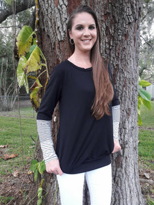 Black and White Striped Sleeves Sweater w/ Pockets