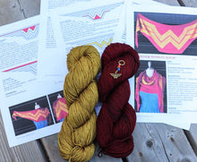 Wonder Woman, Pre Order 2-skein set, Fingering Weight Yarn, Red and Gold from WW Wrap Pattern