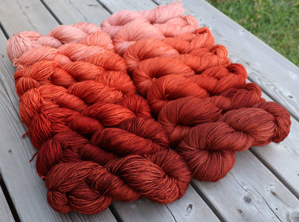 Rowan DK - Red Ochre 7-skein set, prototypes available to purchase--Club Members Only