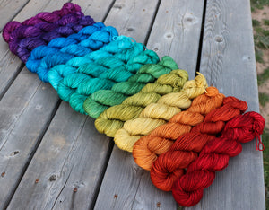 Laurel DK- Gemstone Rainbow Gradient Set (14) 1 oz skeins.  Custom coordinates option