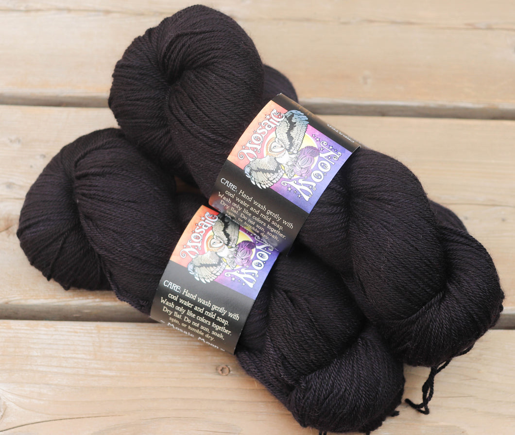 Custom Dye -- Black Solid, You Choose Yarn Type