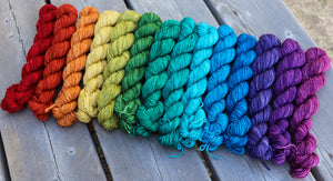 Laurel Nylon Fingering- Gemstone Rainbow Gradient Set (14) 1 oz skeins.  Custom coordinates option