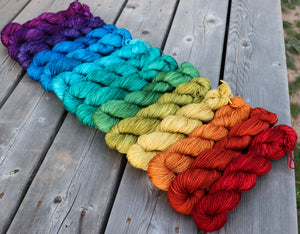 Laurel Sport- Gemstone Rainbow Gradient Set (14) 2 oz skeins.  Custom coordinates option