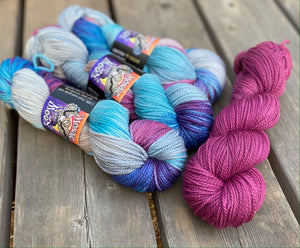 Talisman Worsted - Queen Elsa Colorway and Deep Pink Semisolid