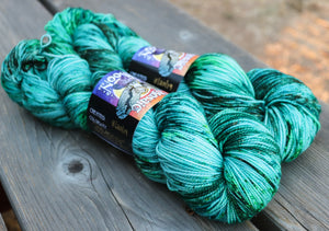 Solstice Gold Fingering - Malachite Sprinkle Dye