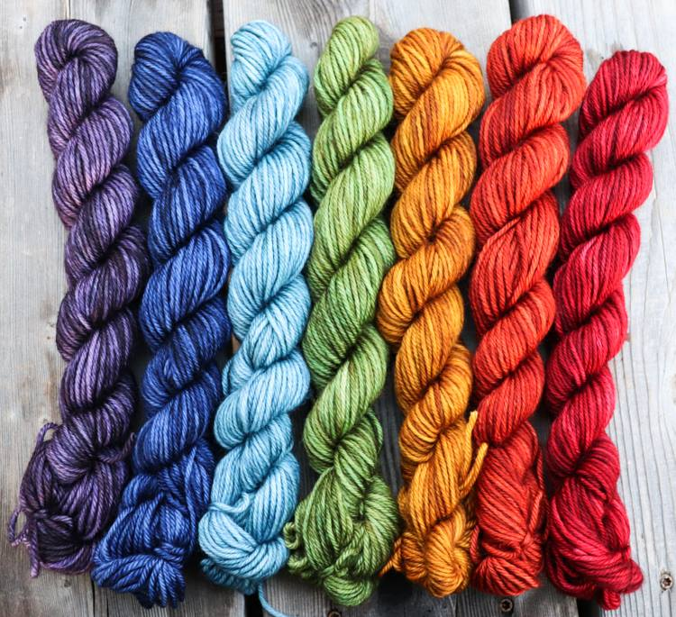 Laurel DK- Earthy Rainbow Gradient Set (7) 1 oz skeins.  Custom coordinates option