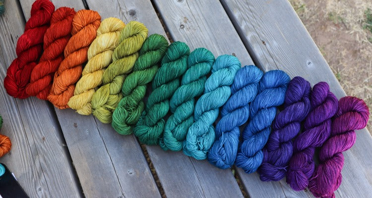 Laurel Nylon Fingering- Gemstone Rainbow Gradient Set (14) 2 oz skeins.  Custom coordinates option