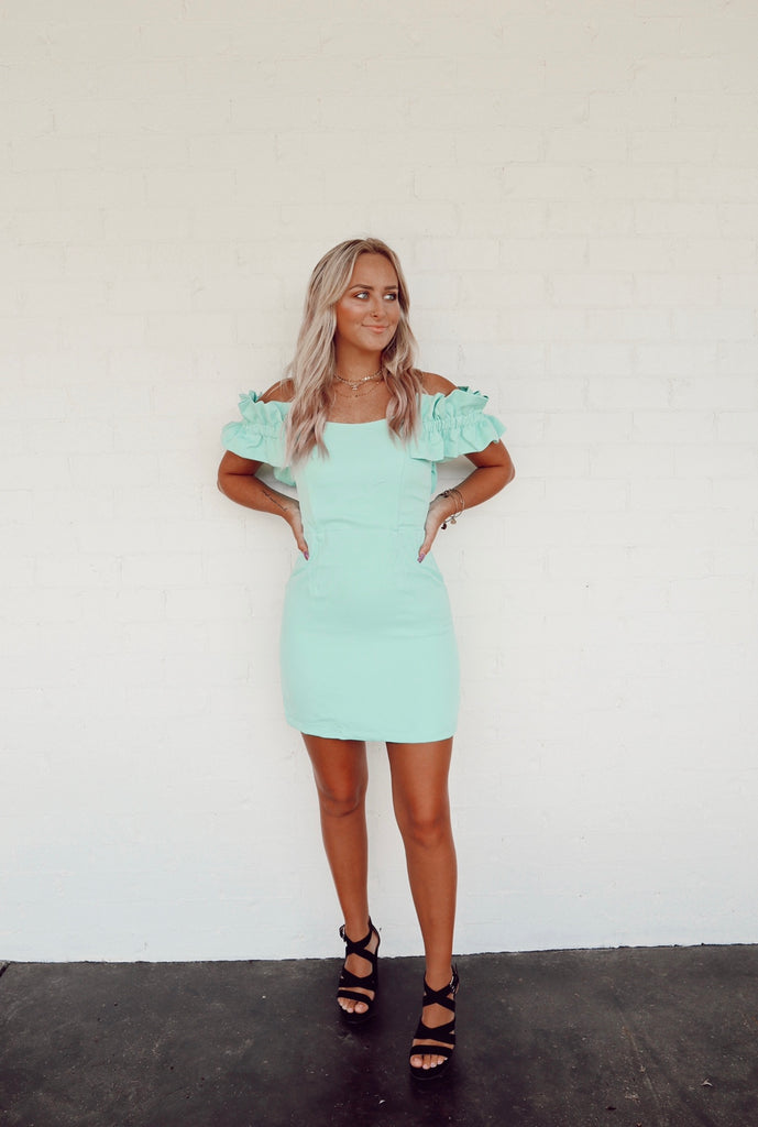 mint ots ruffle dress