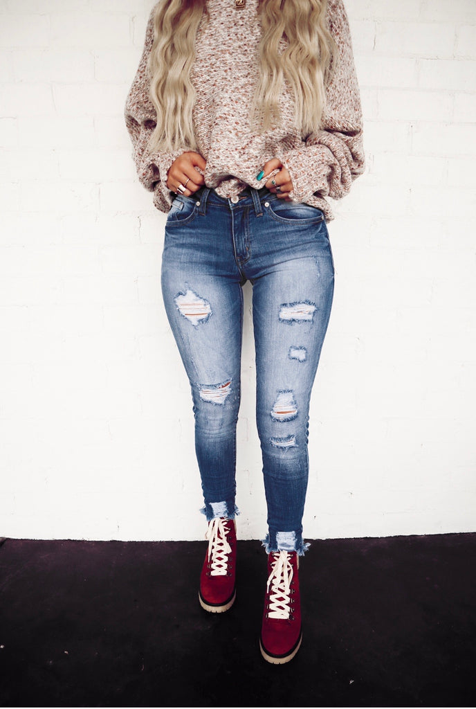 lightly distressed skinny jeans