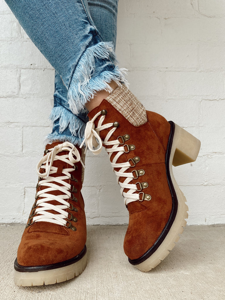 lace up ankle boot- chestnut & plaid