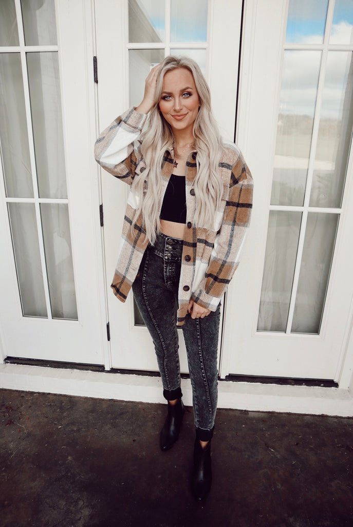 fleece plaid button down