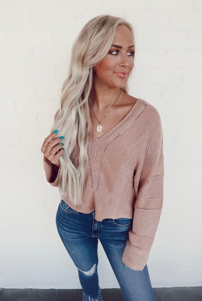 mauve v neck sweater