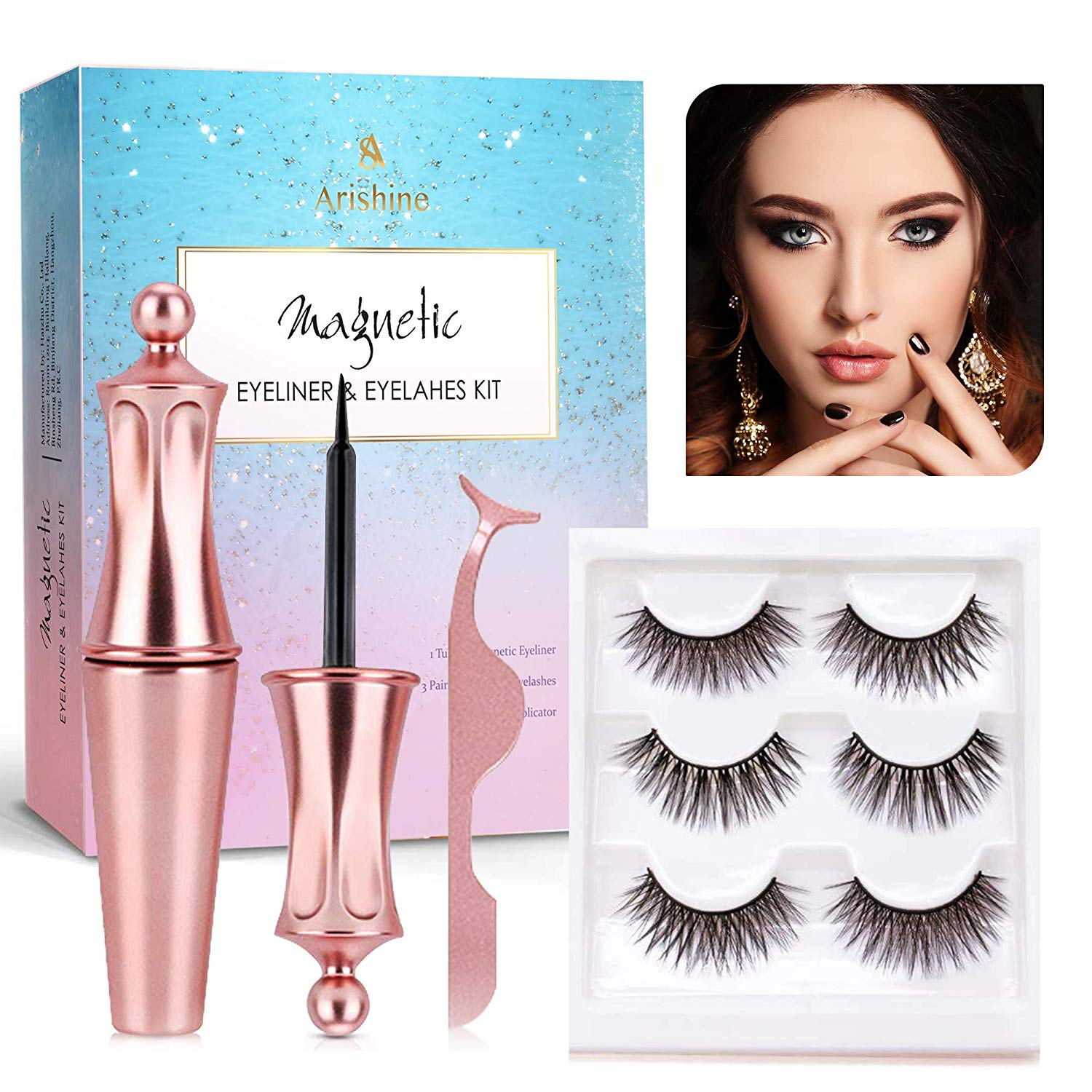 Arishine 3 Different Pairs of Magnetic Eyelashes and Magnetic Eyeliner Kit with Applicator