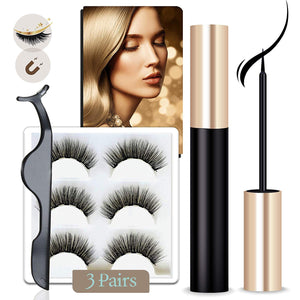 Arishine Magnetic Eyeliner and Lashes Kit,  Magnetic Lashes Set [3 Pairs]
