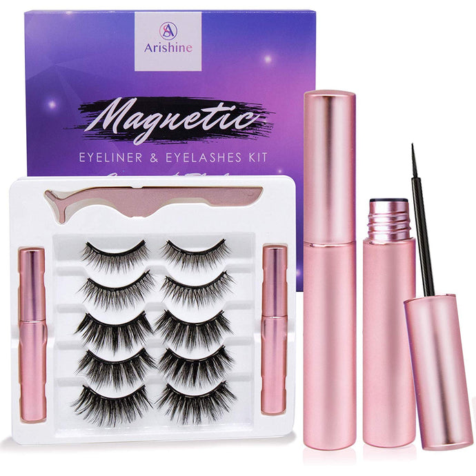 Arishine Magnetic Eyeliner And Eyelash Magnetic Kits[5 Pairs]