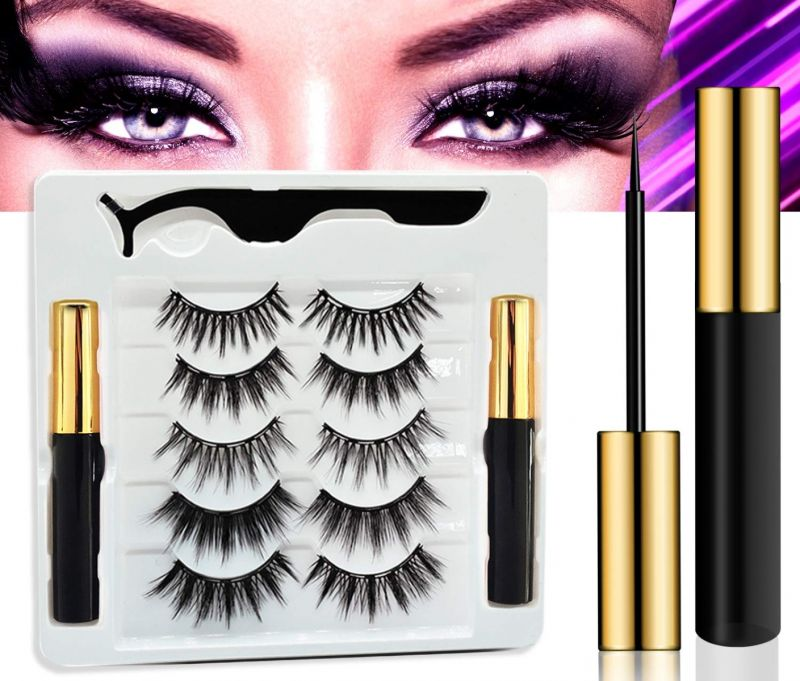 Arishine 2 Tube Magnetic Eyelashes and Eyeliner Kit - Best Magnetic Eyelash Kit- 5 Pairs