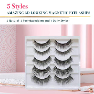 Arishine 5 Pairs Reusable Magnetic Eyelashes and 2 Tubes of Magnetic Eyeliner Kit
