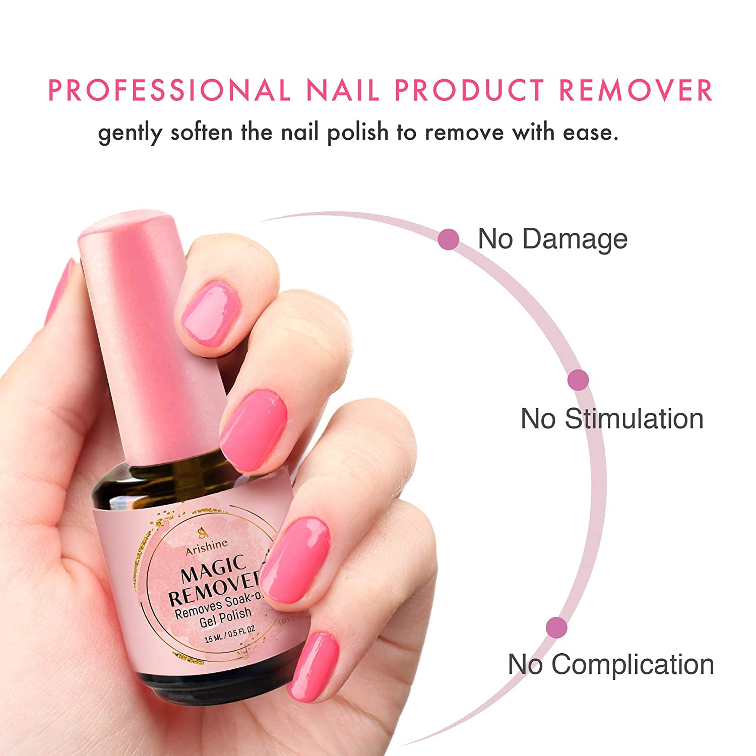 Arishine Magic Nail Polish Remover - Remove Gel Nail Polish Within 2-3 Minutes - Quick & Easy Polish Remover - No Need For Foil, Soaking Or Wrapping, 0.5 Fl Oz