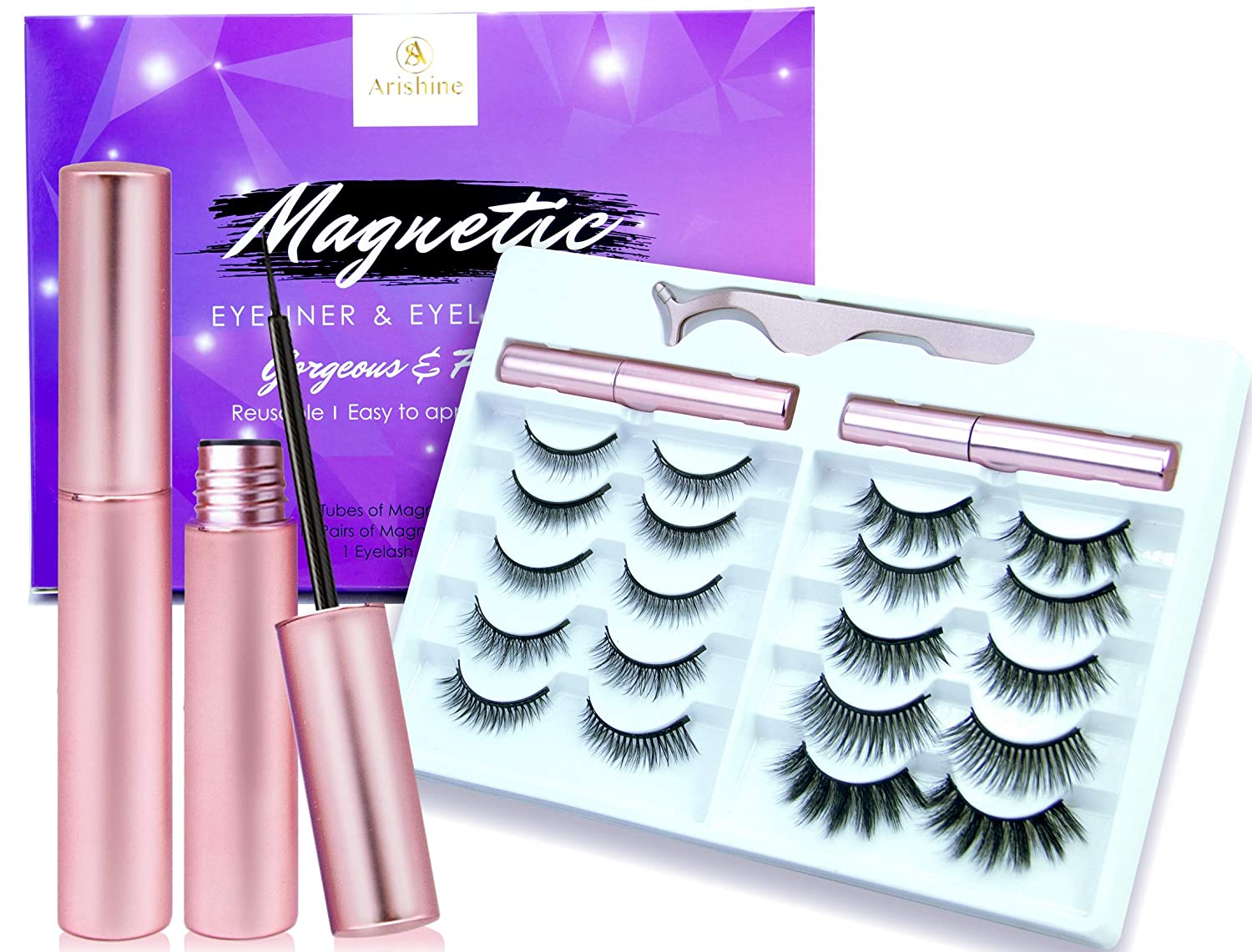 New Arishine 10 Different Pairs of Magnetic Eyelashes Kit with 2 Magnetic Eyeliners & Tweezers, Natural Look & No Glue Reusable False Lashes
