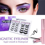 New 10 Pairs of Magnetic Eyelashes Kit with 2 Magnetic Eyeliners & Tweezers, Natural Look & No Glue Reusable False Lashes