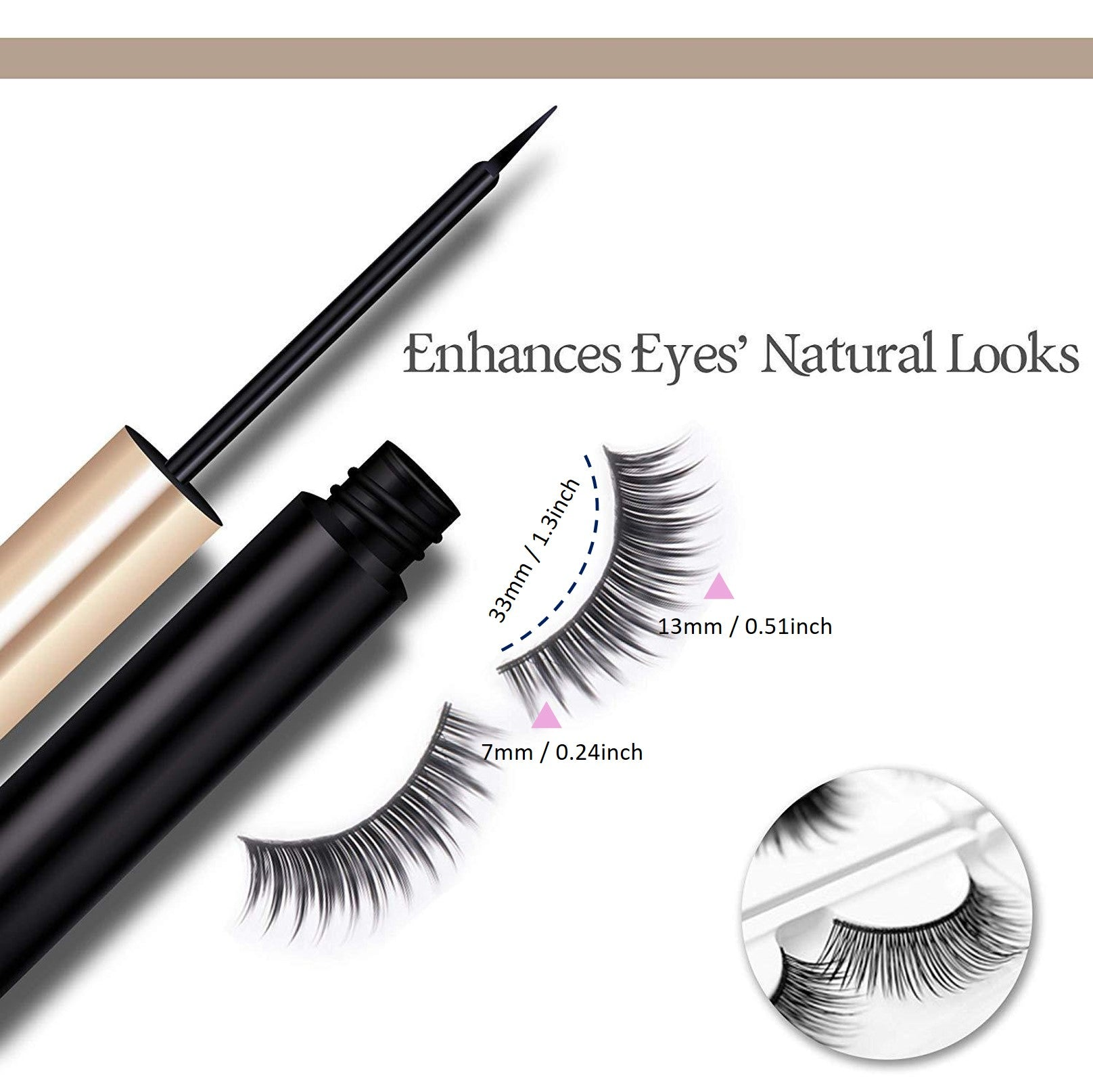 Same Designed 3 Pairs of Natural Look Magnetic Eyelashes Kit with Applicator Tool