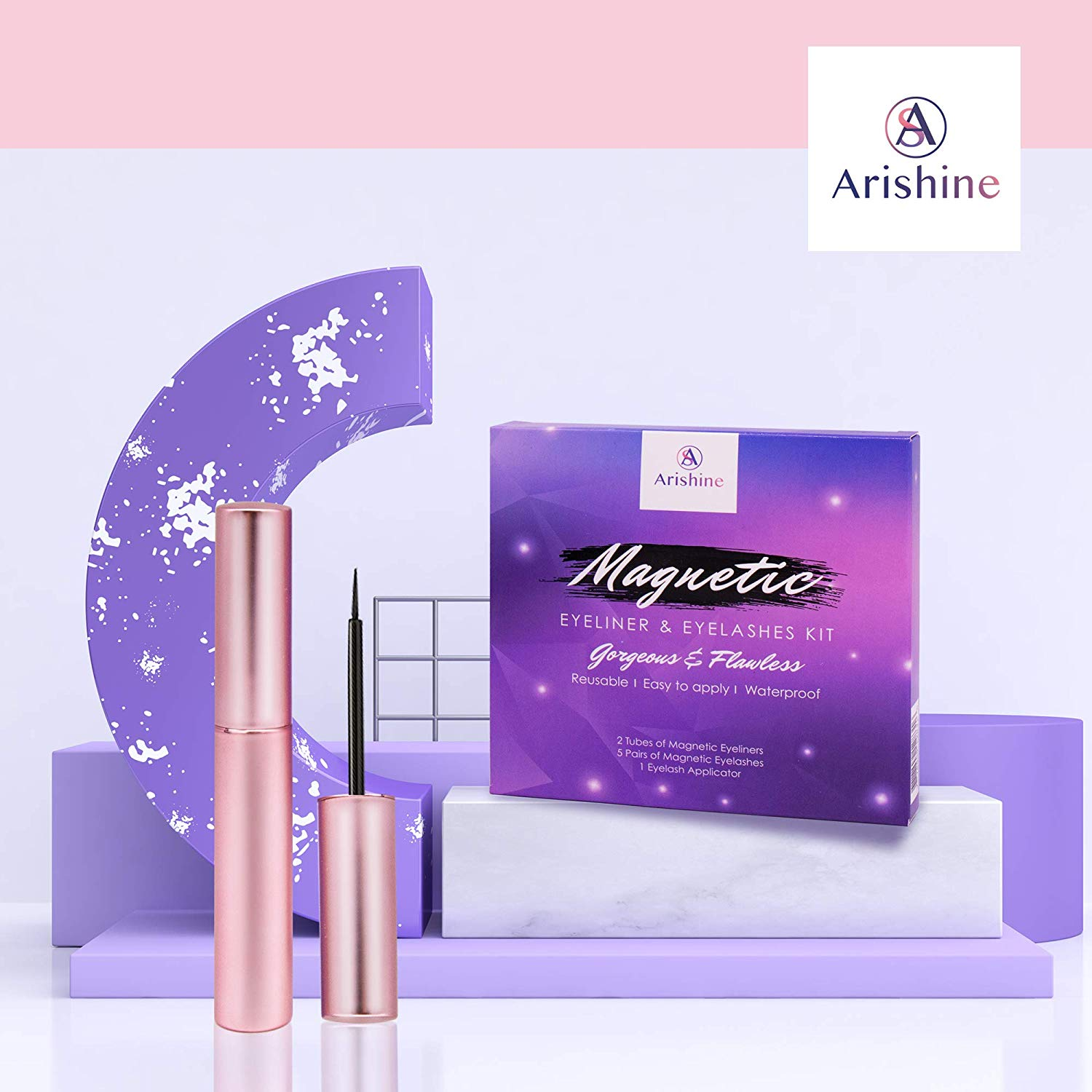 Arishine Magnetic Eyeliner and Lashes Kit - Makeup Accessories Online