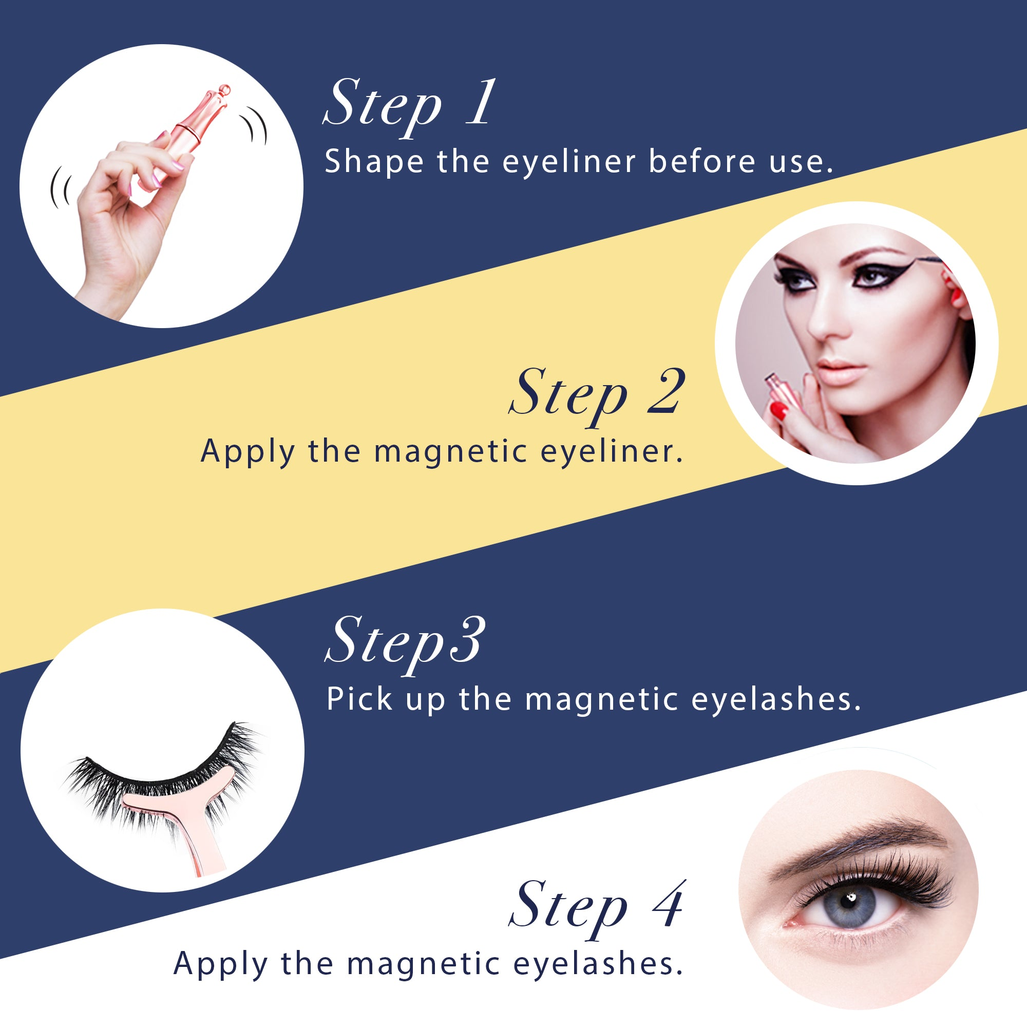 Arishine magnetic lashes eyelashes with eyeliner, magnetic eyeliner and magnetic eyelash kit natural look with applicator no glue needed