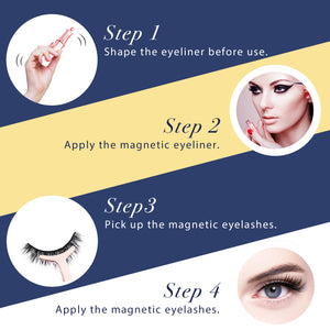 Arishine Natural Look 5 Different Pairs of False Magnetic Eyelashes Kit with Applicator
