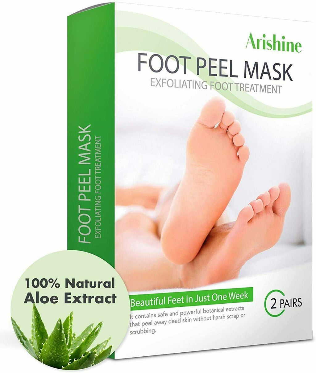 Arishine Foot Peel Mask, Exfoliating Foot Mask Get Soft Baby Foot 2 Pairs