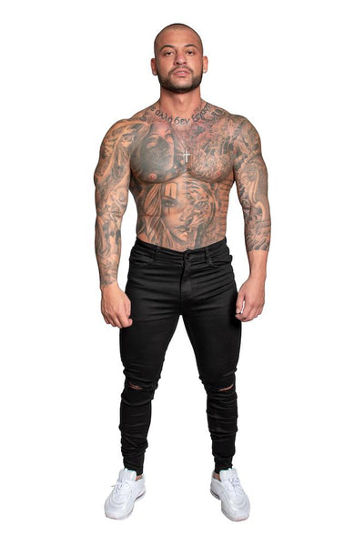 Adonis Gear AG01 Muscle Fit Ripped Knee Jeans - Black