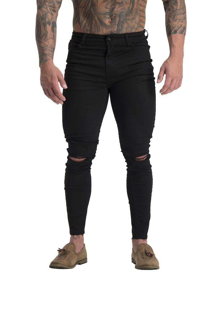Adonis Gear AG06 Muscle Fit Ripped Knee Jeans Cropped - Black