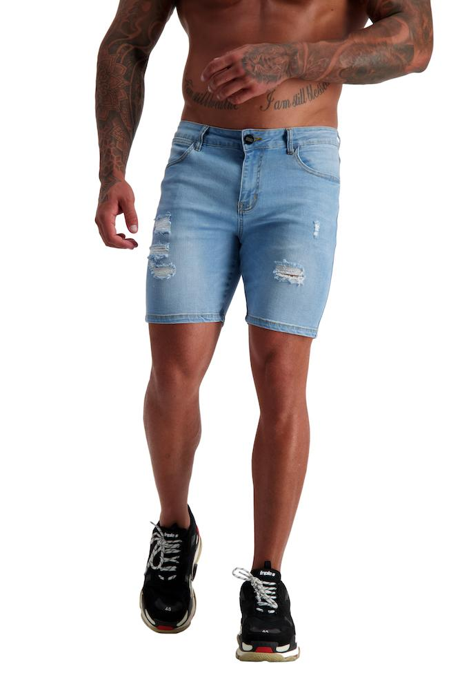 Adonis Gear AG08 Muscle Fit Denim Ripped Shorts - Blue