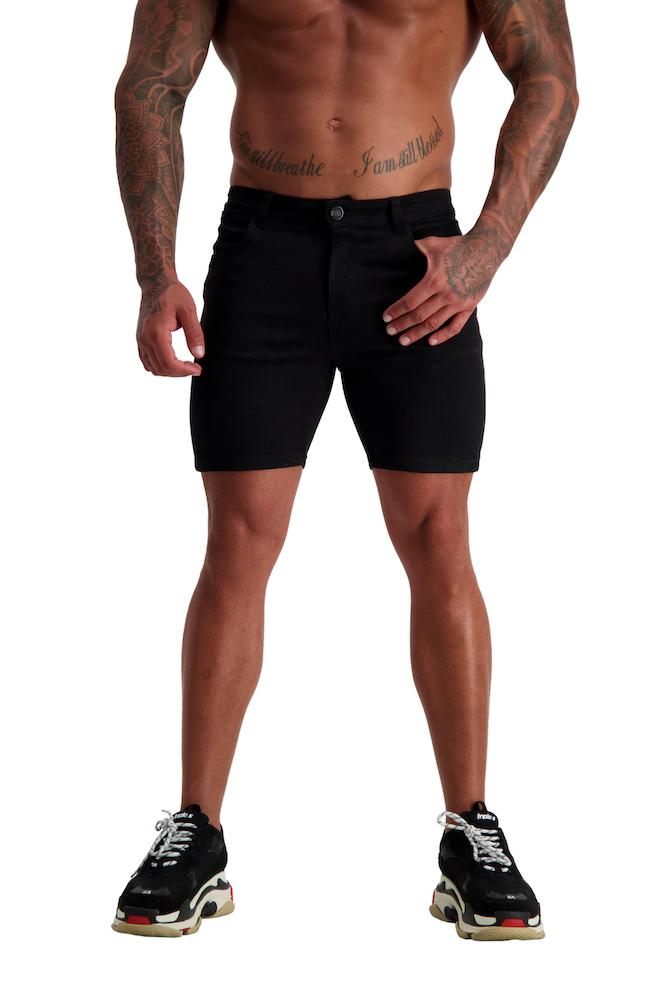 Adonis Gear AG09 Muscle Fit Denim Shorts - Black