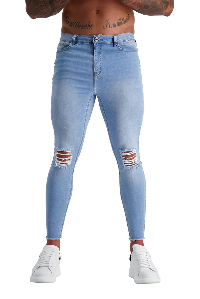 Adonis Gear AG14 Muscle Fit Jeans - Light Blue Wash/ RIPPED KNEE CROPPED