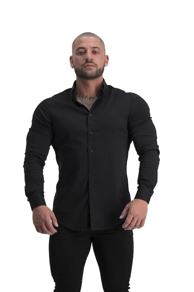 Adonis Gear Muscle Fit Button Up Long Sleeve Shirt - Black