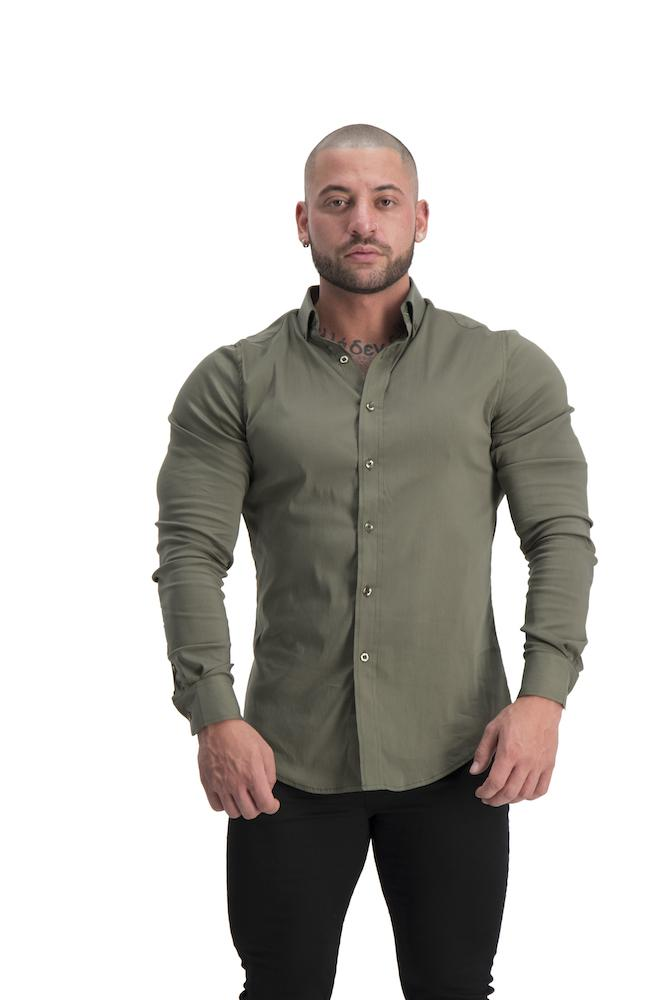 Adonis Gear Muscle Fit Button Up Long Sleeve Shirt - Khaki