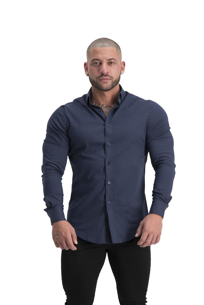 Adonis Gear Muscle Fit Button Up Long Sleeve Shirt - Navy