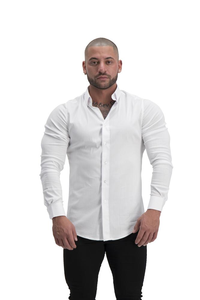 Adonis Gear Muscle Fit Button Up Long Sleeve Shirt - White