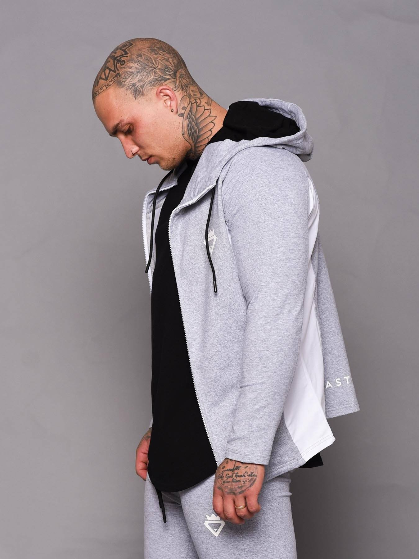 Beast Aesthetic Two Tone Hoodie - Grey