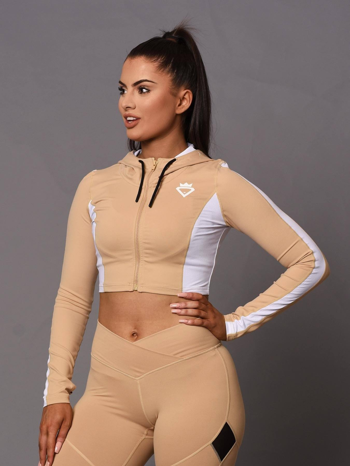 Beauty Crop Zip-Up Hoodie - Beige
