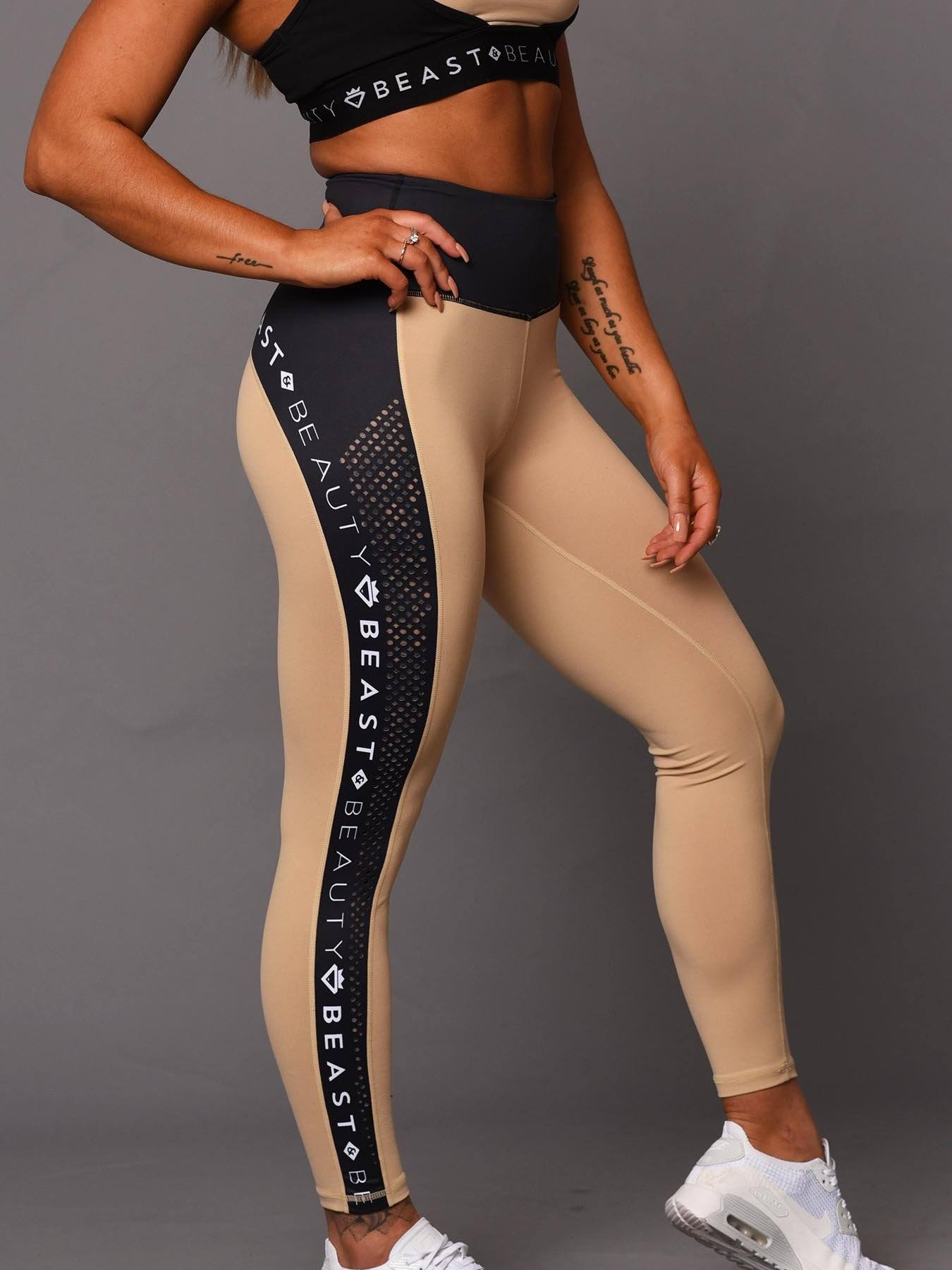 Beauty Running Logo Leggings - Beige