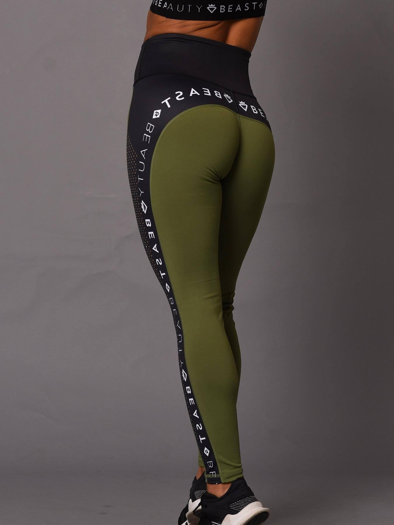 Beauty Running Logo Leggings - Green