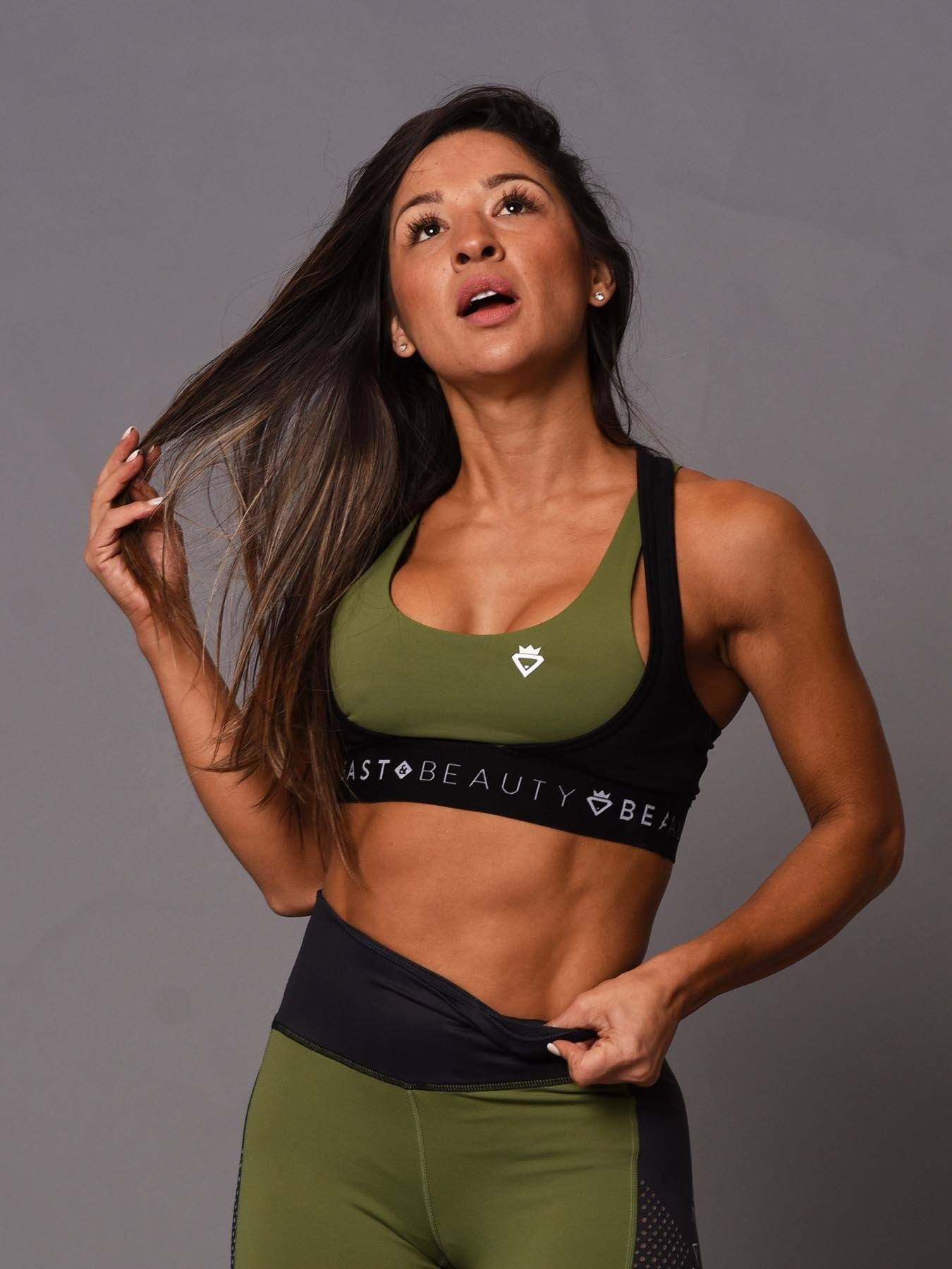 Beauty Two Tone Crop Top - Green/Black