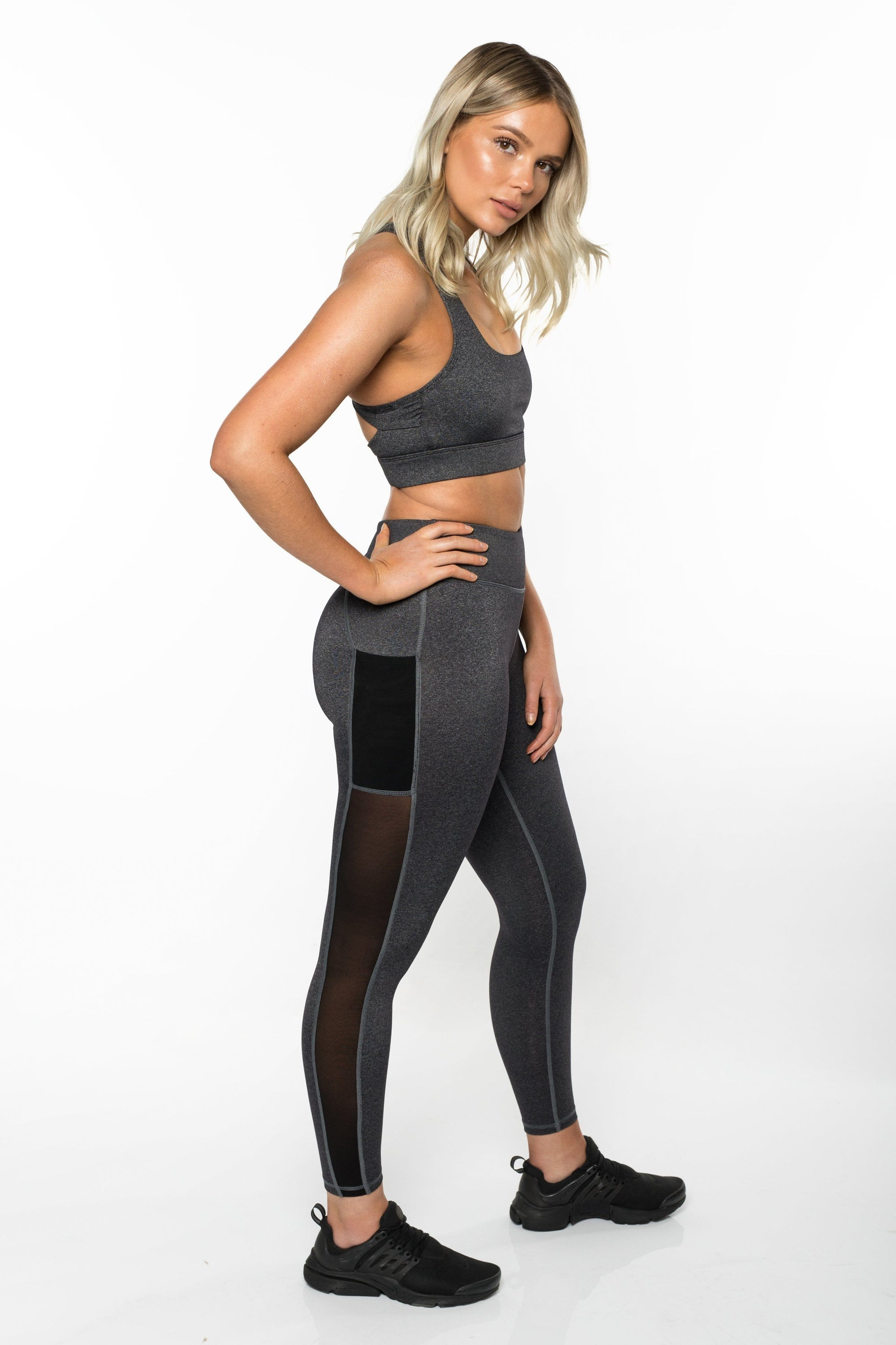 DYE Side Mesh Leggings - Grey Marl