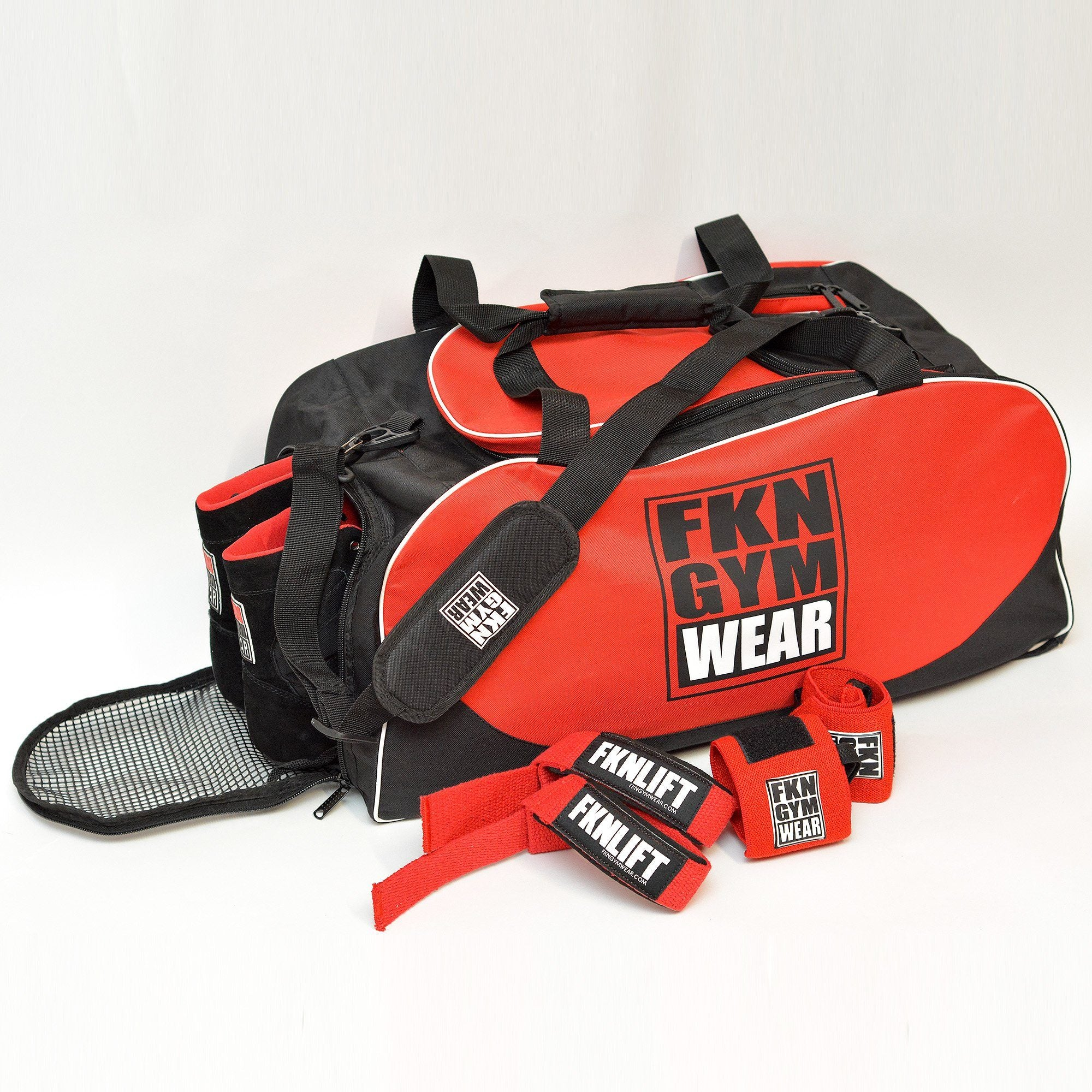 FKN Gym Wear Bag, Straps & Wraps Kit - Red