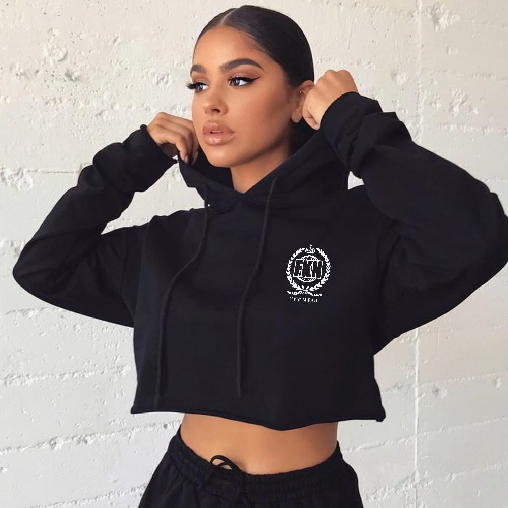 FKN Gym Wear Cropped Gym Hoodie - Black