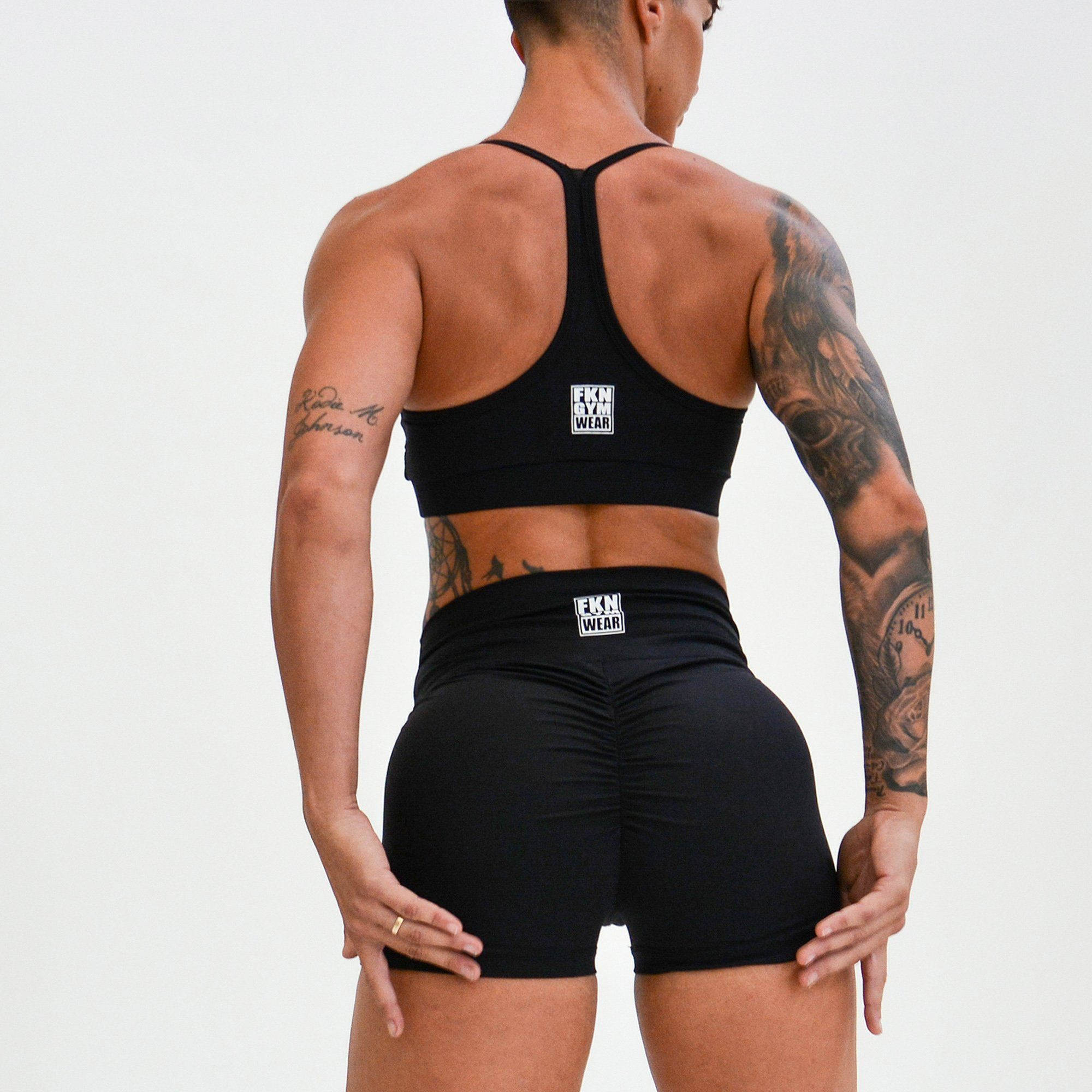 FKN Gym Wear High Waist Scrunch Shorts - Black