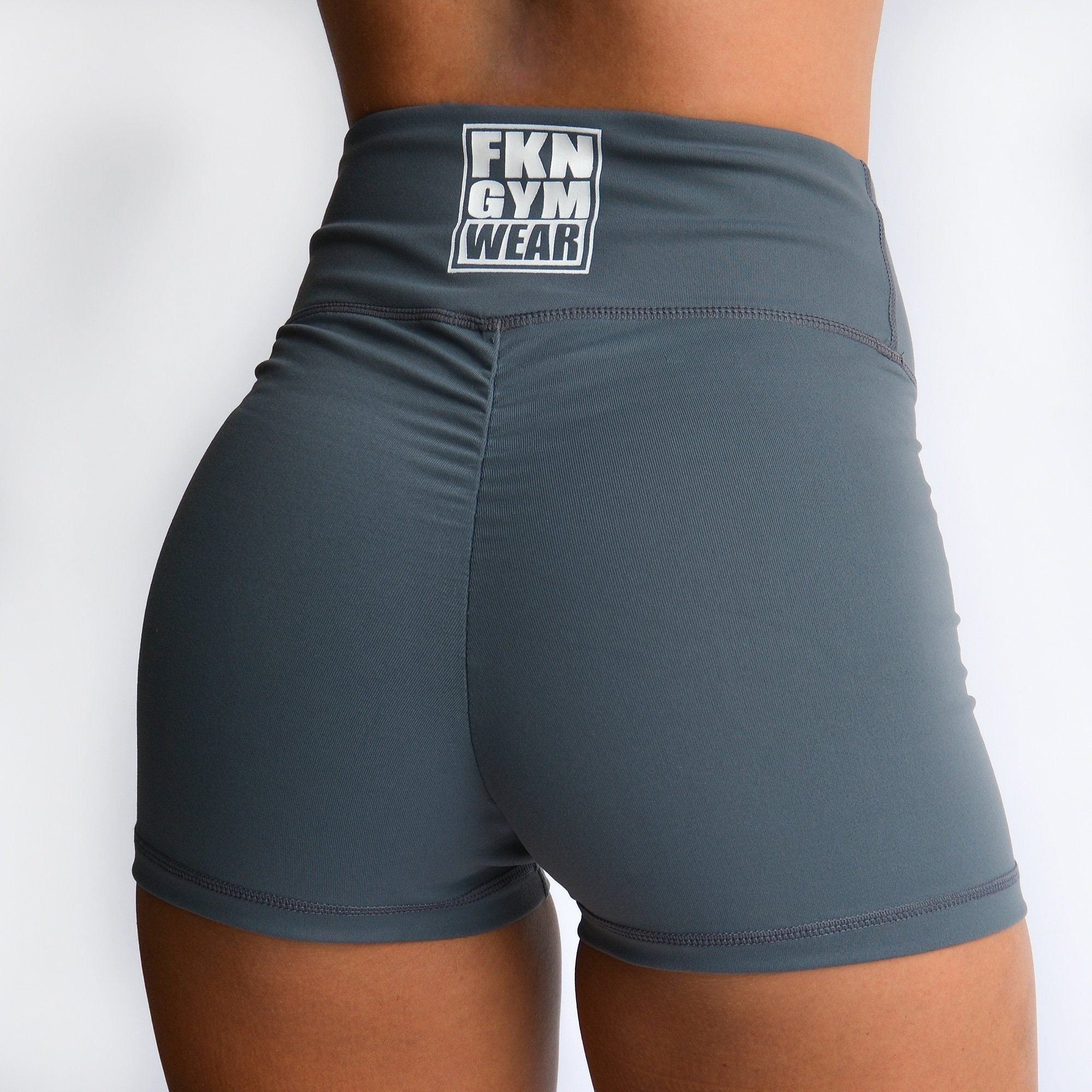 FKN Gym Wear High Waist Scrunch Shorts - Grey